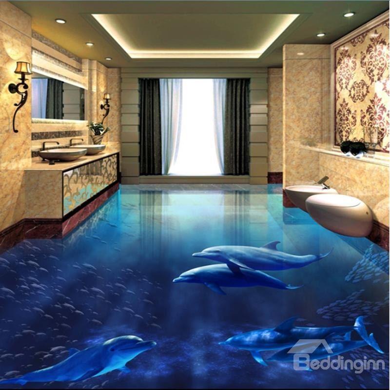 Realistic Blue Dolphins Pattern Wallpaper Waterproof Custom 3d Floor Murals Floor Murals Floor Wallpaper Floor Design