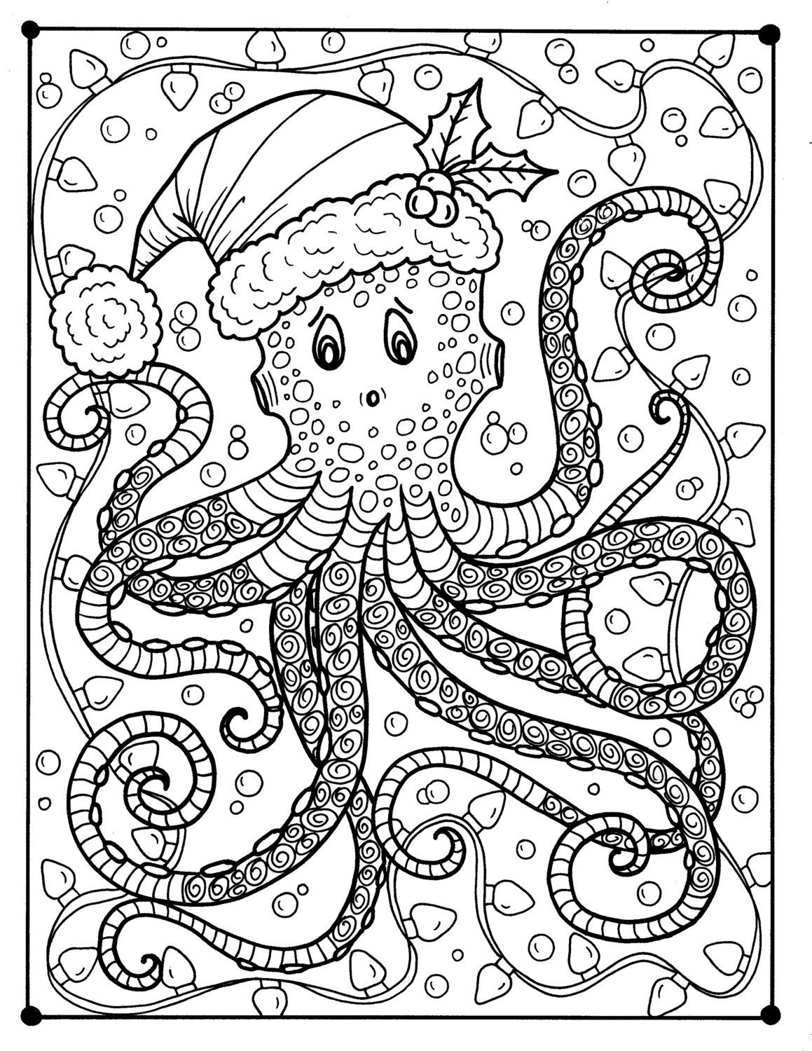 Octopus Christmas Coloring page Adult color Holidays beach | Dibus ...