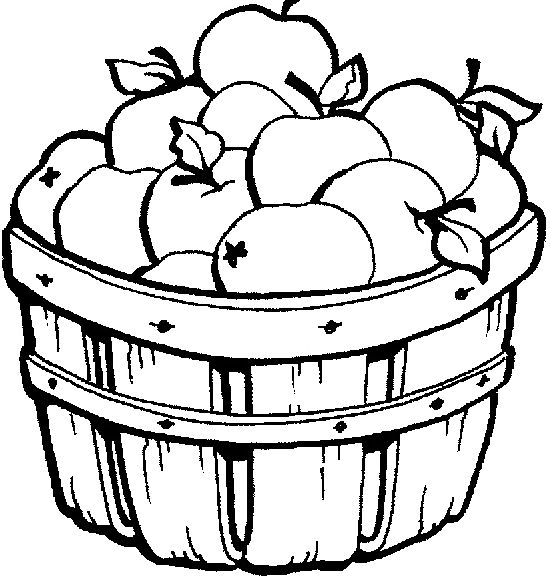 APPLE BASKET COLORING PAGES | Apple Basket Coloring Pages | autumn ...