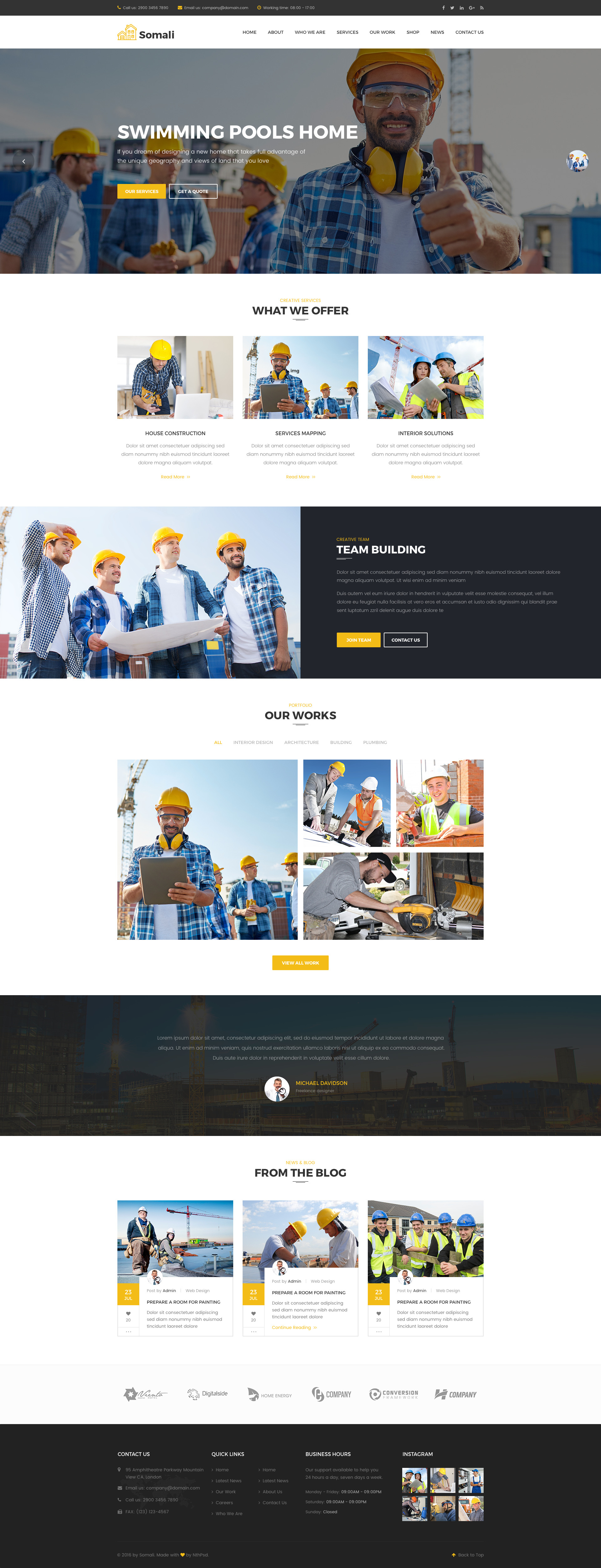 Somali Construction Sketch Templates Download Psd Templates Templates Homepage Layout