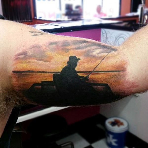 90 Sunset Tattoos For Men Fading Daylight Sky Designs Tattoos For Guys Sunset Tattoos Lake Tattoo