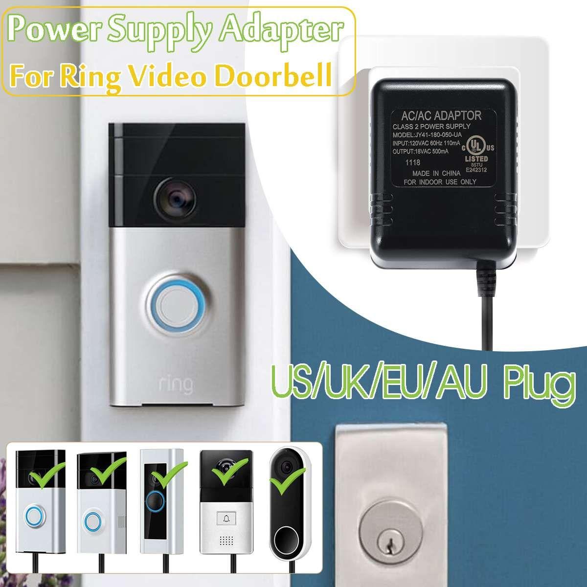 Us Uk Eu Au 8m Wifi Doorbell Camera Power Adapter For Ip Video Intercom Ring Wireless Doorbell 110v 240v Ac 18v Transformer