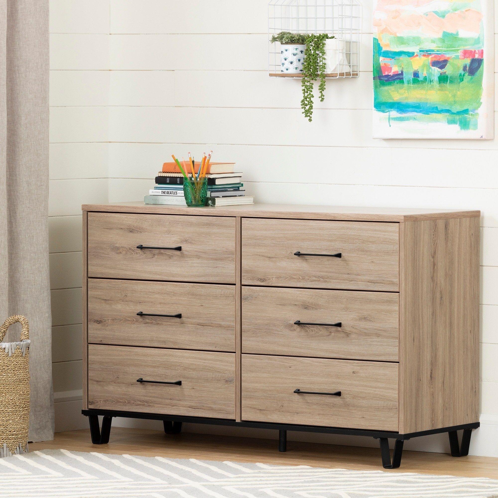 Petite South Shore Fakto 6 Drawer Double Dresser Rustic Oak