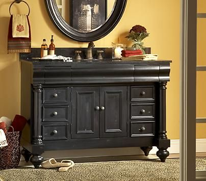 Guild Hall Distressed Black Bathroom Vanity From Kaco.