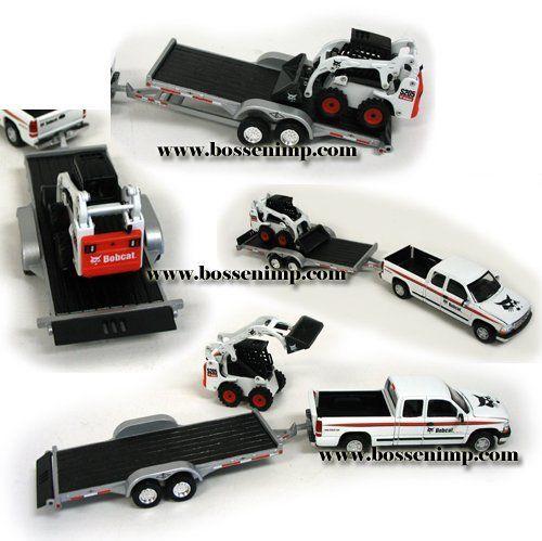 Bobcat Chevy Pickup, Trailer & S205 Skid-Steer Loader Set 1