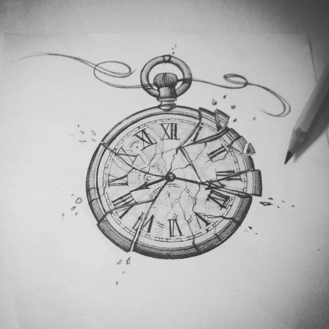 Pocket Watch Drawings: Clock Tattoo Design, Clock