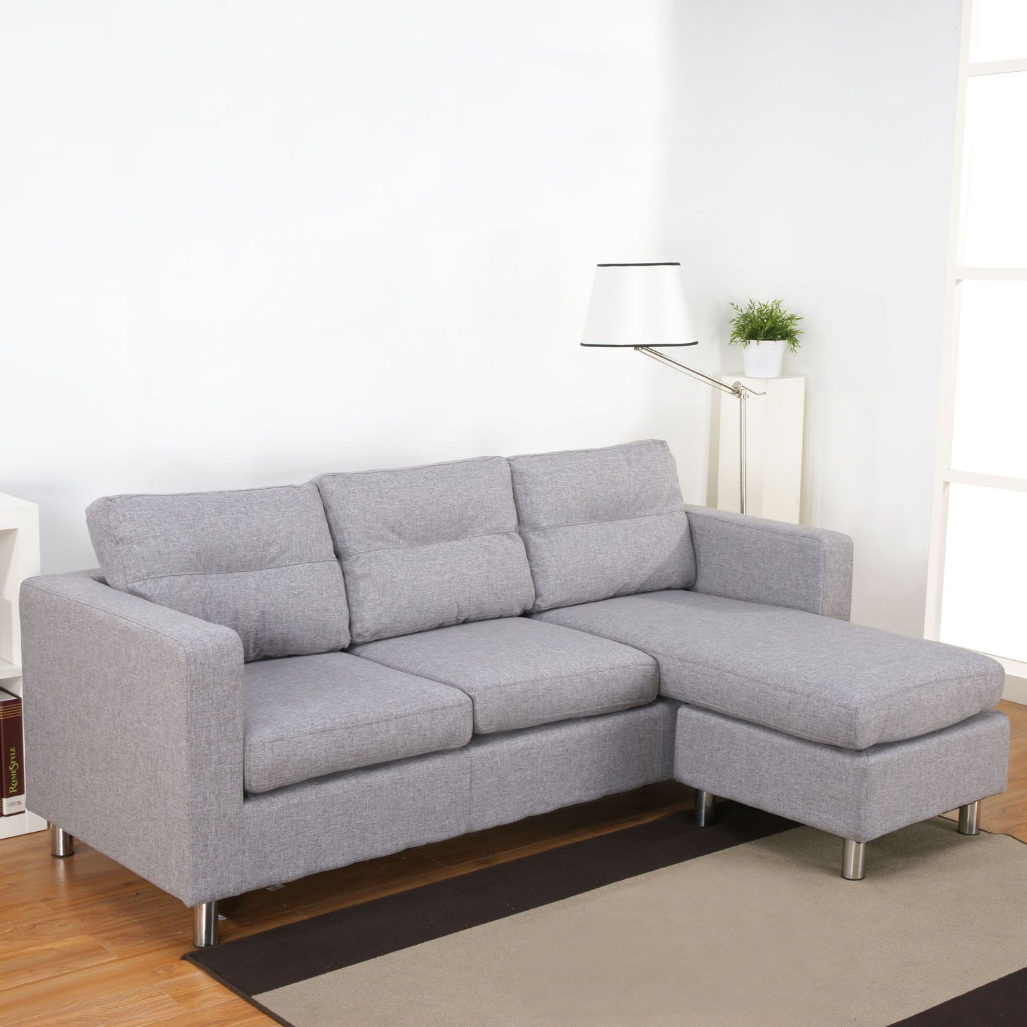 Osaka Peppered Grey Fabric Chaise Sofa A Sofasworld Co Uk