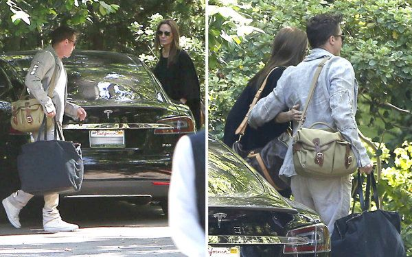 Couple Brad Pitt and Angelina Jolie arriving at a hotel for a little weekend getaway in Los Angeles, California on April 5, 2014.