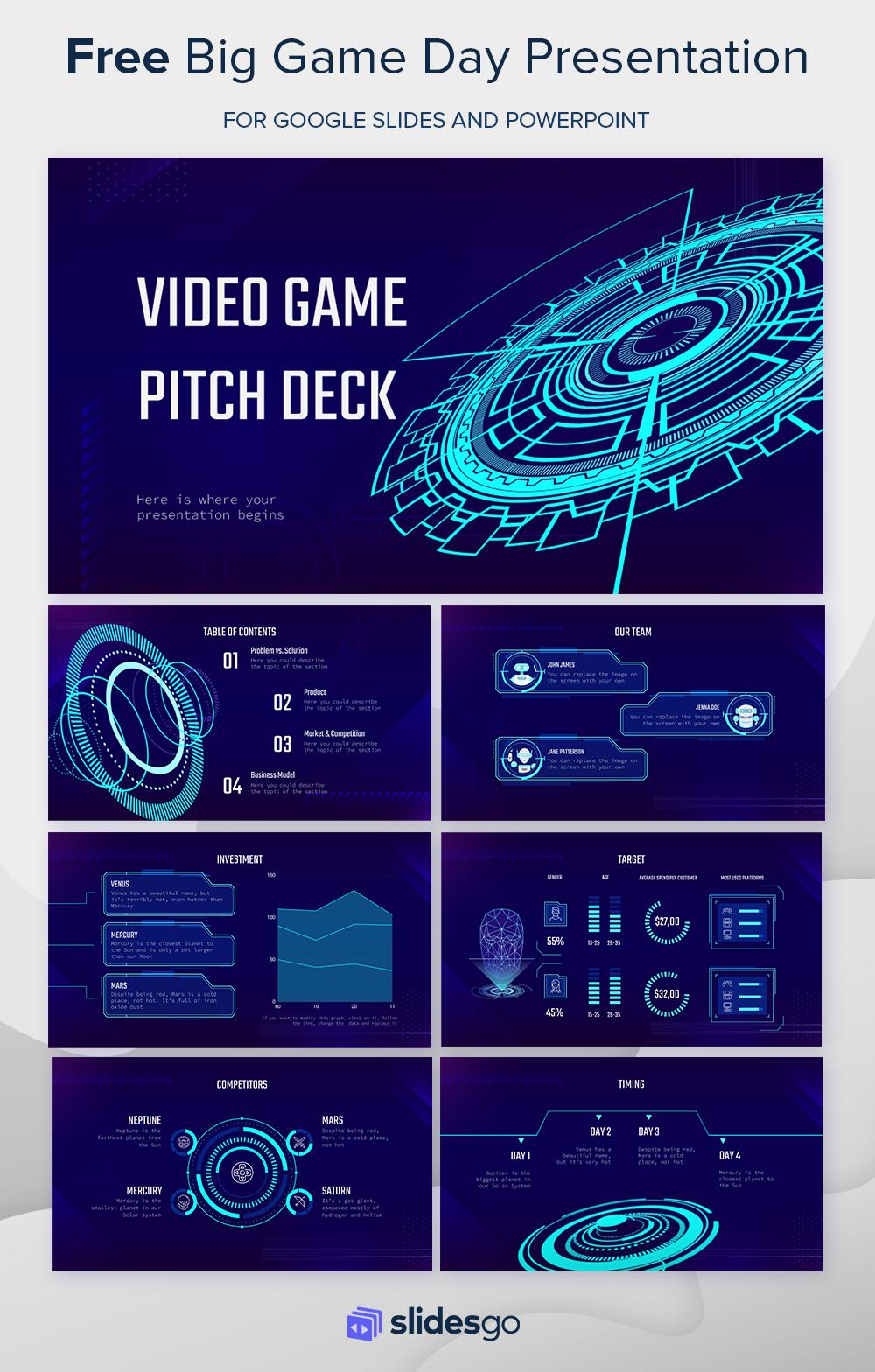 Video Game Pitch Deck Presentation Pitch Presentation Creative Powerpoint Templates Presentation Design Layout