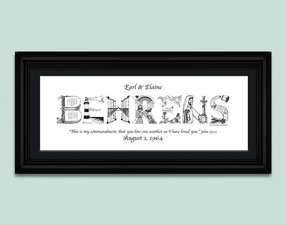 50th Wedding Anniversary Gift Personalized; Anniversary Gifts ...