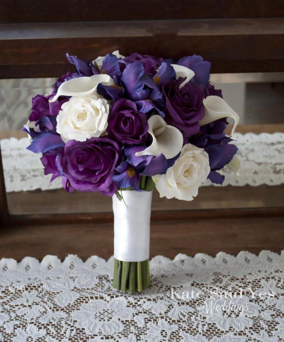 Purple And Ivory Iris Rose And Calla Lily Wedding Bouquet Silk