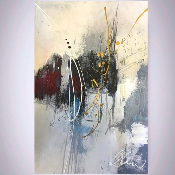 Abstract painting, original art, Ikouart Isabelle Couture artist, heavy duty paper, 12 x 18, wall art, contemporary abstract home decor