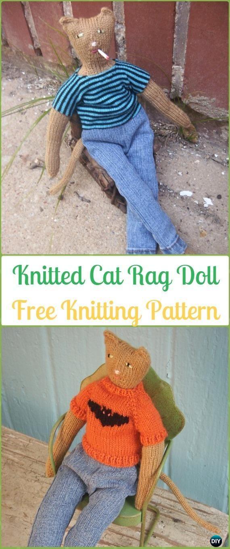 Amigurumi Knitted Cat Rag Doll Toy Free Knitting Pattern - Knit Cat ...