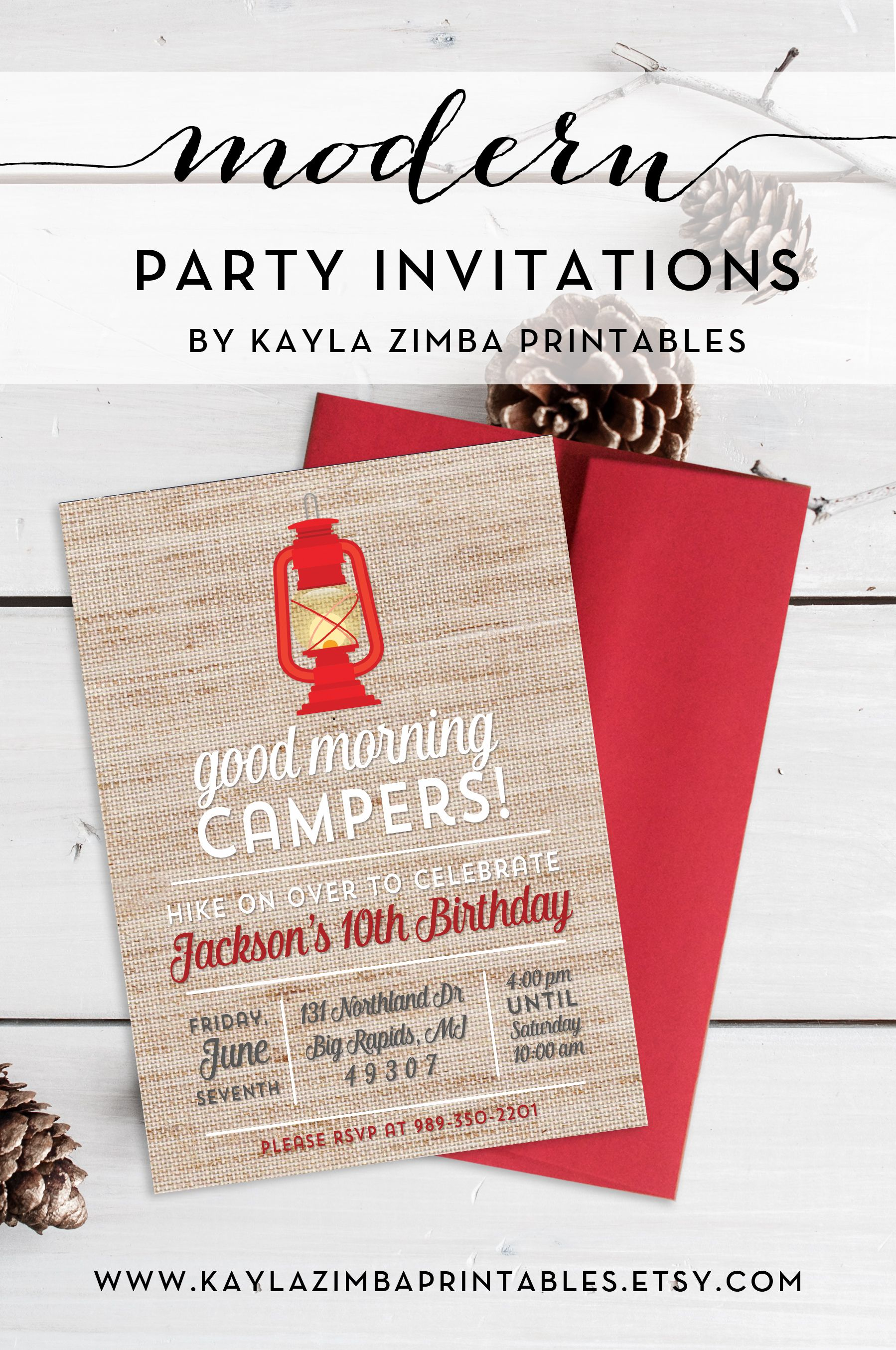 Camping Birthday Party Invitation Printable, Backyard Birthday or ...