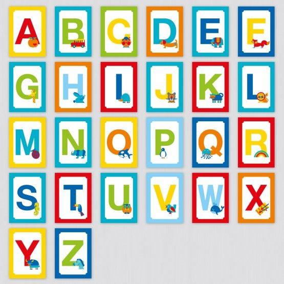 Coole Kinderzimmer Deko Idee / ABC Postkarten Set Mit 26 Buchstaben / Namen  Als Wimpelkette Aufhängen