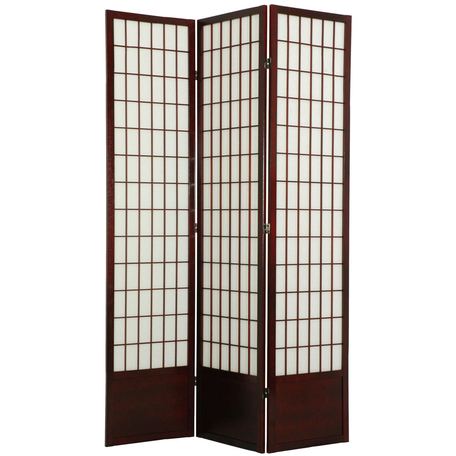 Oriental Furniture Window Pane Room Divider 84 Inch Rosewood