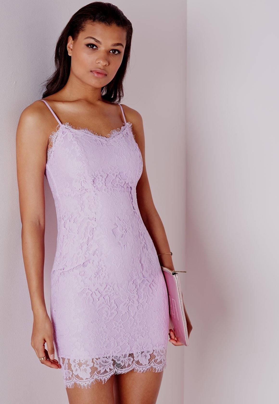 Light Purple Lace Bodycon Criss Cross Back Dress - Polyvore