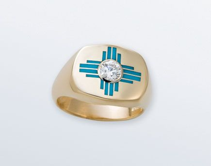 Small Ladies Zia Ring With Diamond And Sleeping Beauty Turquoise