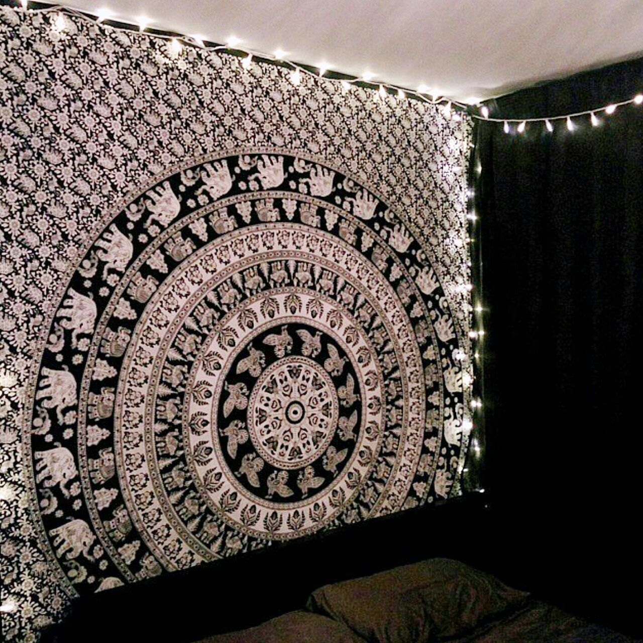 Black And White Indian Elephant Mandala Tapestry Wall Hanging Hippie Bedspread Wall Tapestry Bedroom Room Decor Bedroom Rose Gold Mandala Tapestries Wall Hangings