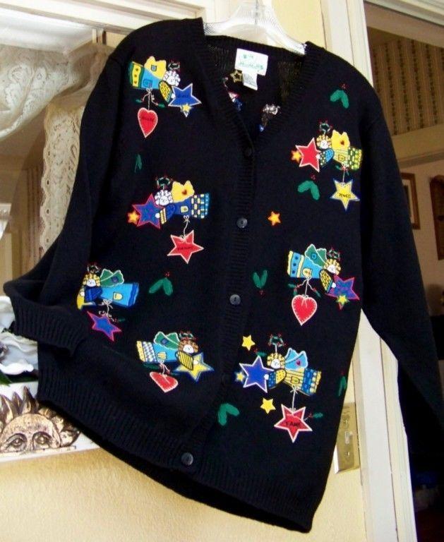 Quacker Factory Possibilities Angel Sweater SM Stars Hearts Black Red Blue Green #QuackerFactory #Cardigan