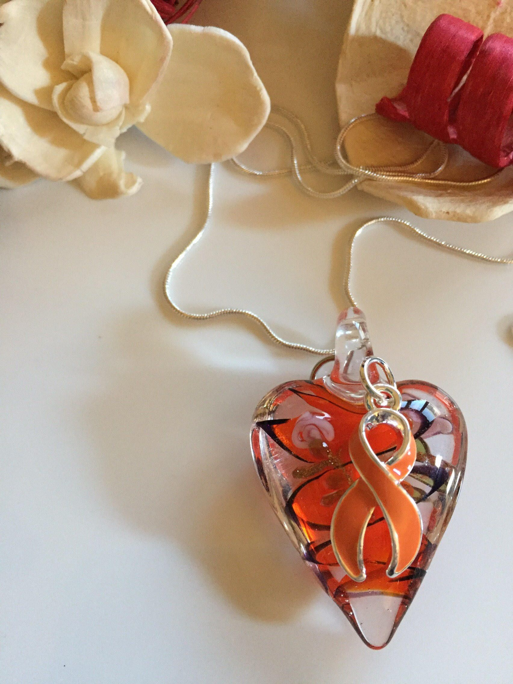 charm sclerosis ribbon glass awareness leukemia multiple cancer pin orange heart necklace kidney bracelet