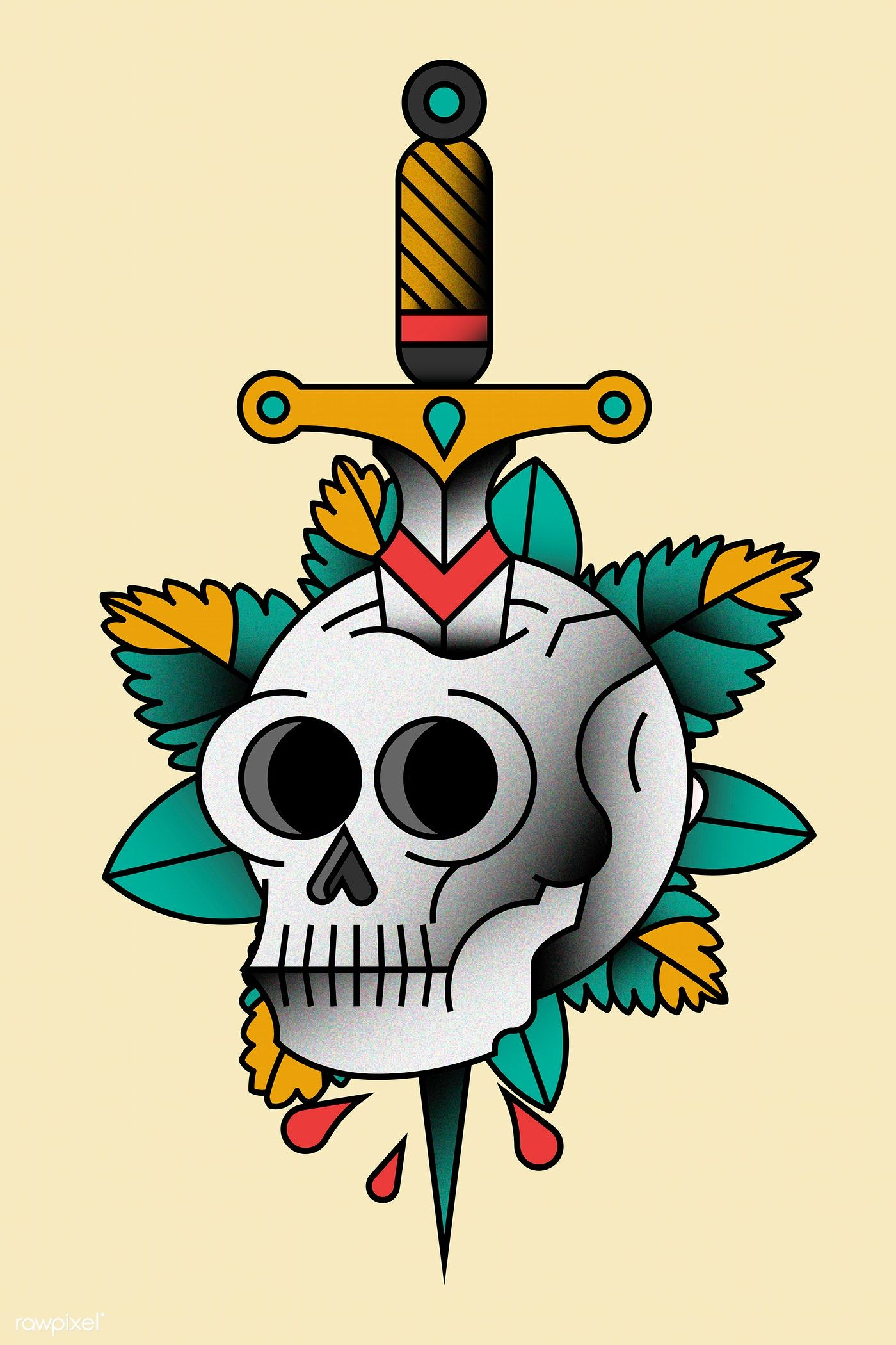 Download premium vector of Traditional skull with sword