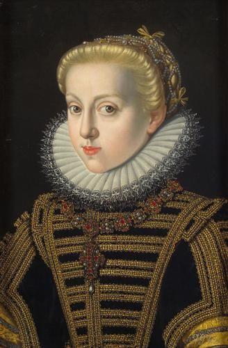 ca. 1591 Erzherzogin Katharina Renea (1576-1595) in schwarzem Kleid by Jakob de Monte (Kunsthistorischesmuseum - Wien Austria) | Grand Ladies | gogm