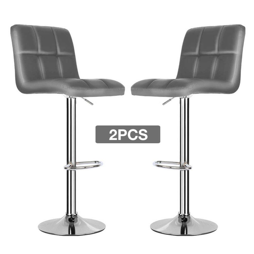 Details About 2x Grey Pu Leather Breakfast Bar Stools Swivel Kitchen Chair Chrome Gas Lift Swivel Bar Stools Bar Stools Breakfast Bar Stools