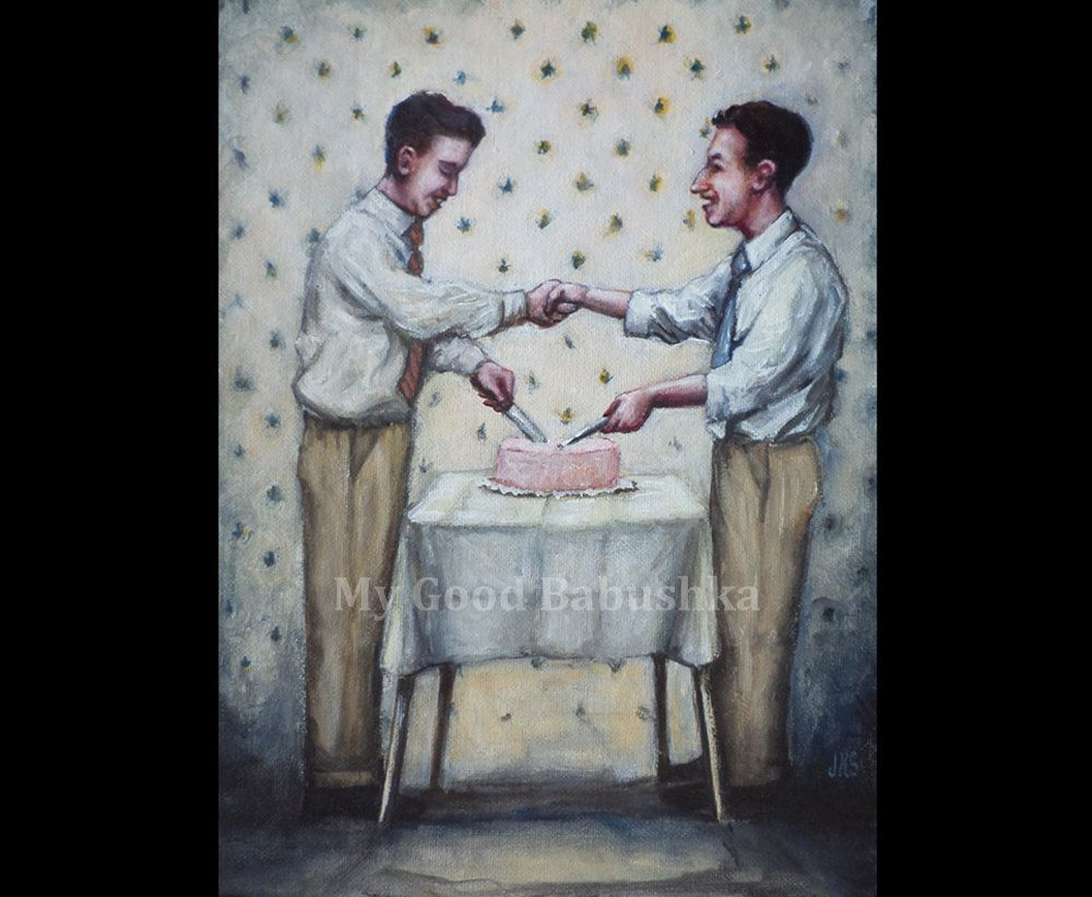 Cut the Cake, Original Painting, Kitchen, Dessert, Shake Hands, Retro, Vintage, Men, Party, Food, Pastry, Sharing Food, Friendship, Table by mygoodbabushka on Etsy