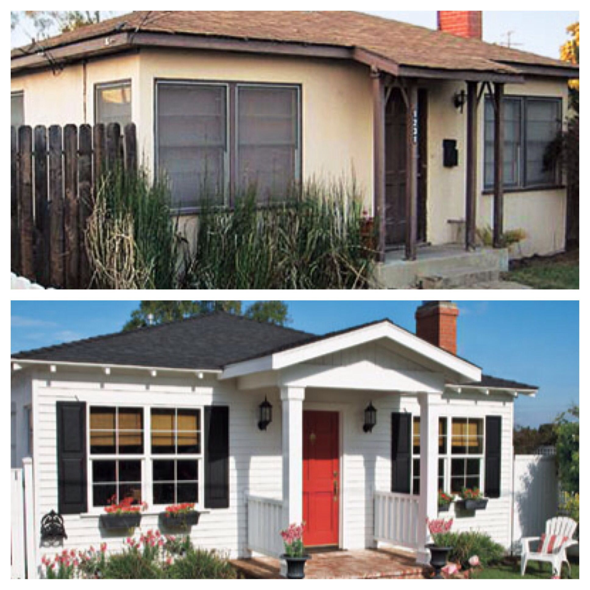Curb appeal before and after. Add dimension and character.