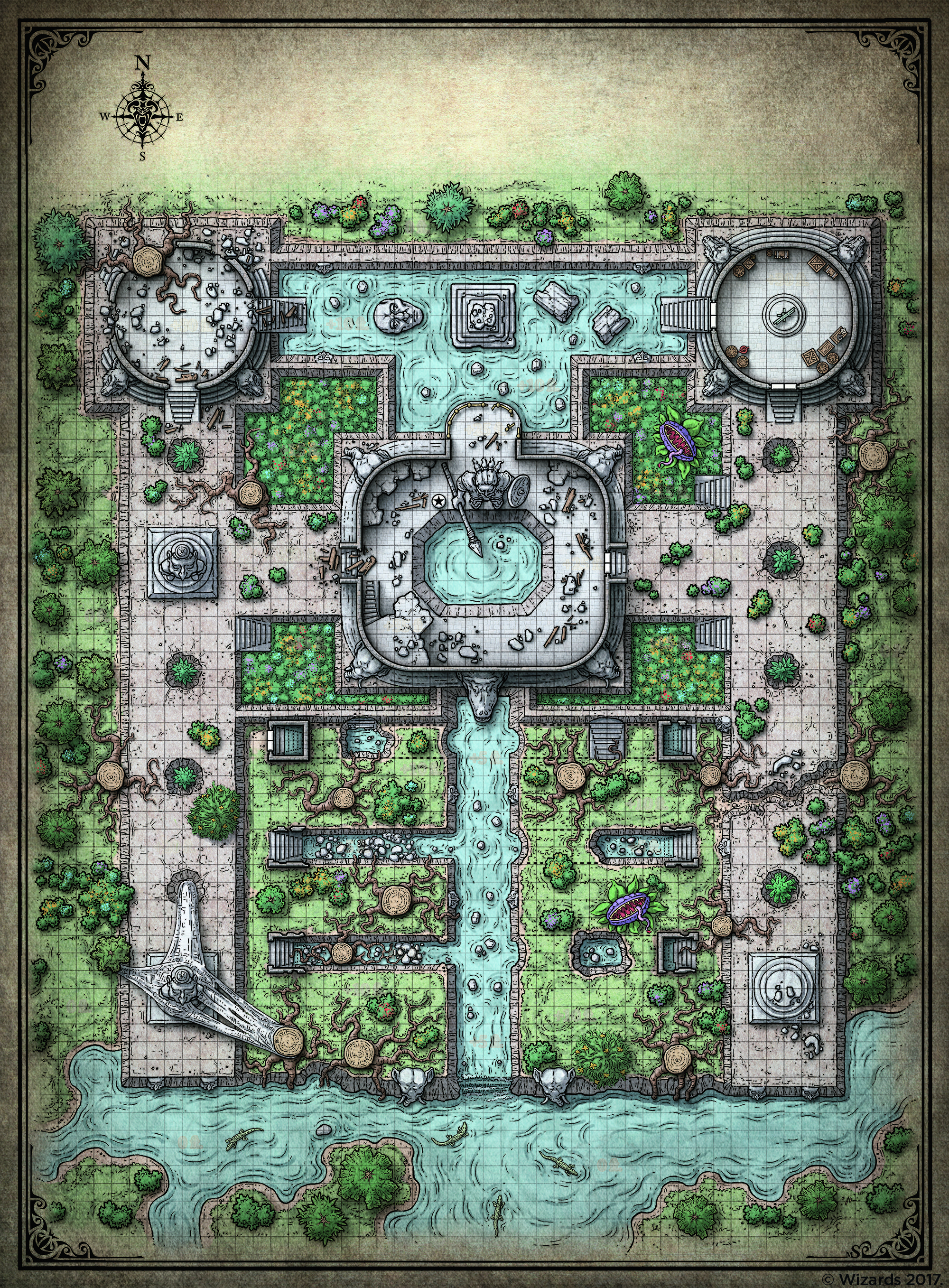 Royal Gardens D&D Dungeons And Dragons Battle Map