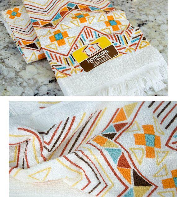 Vintage Tea Towels Set of Two Brand New Tea by KLeighVintage   Vintage tea towels. Tea towel set. Tea towels