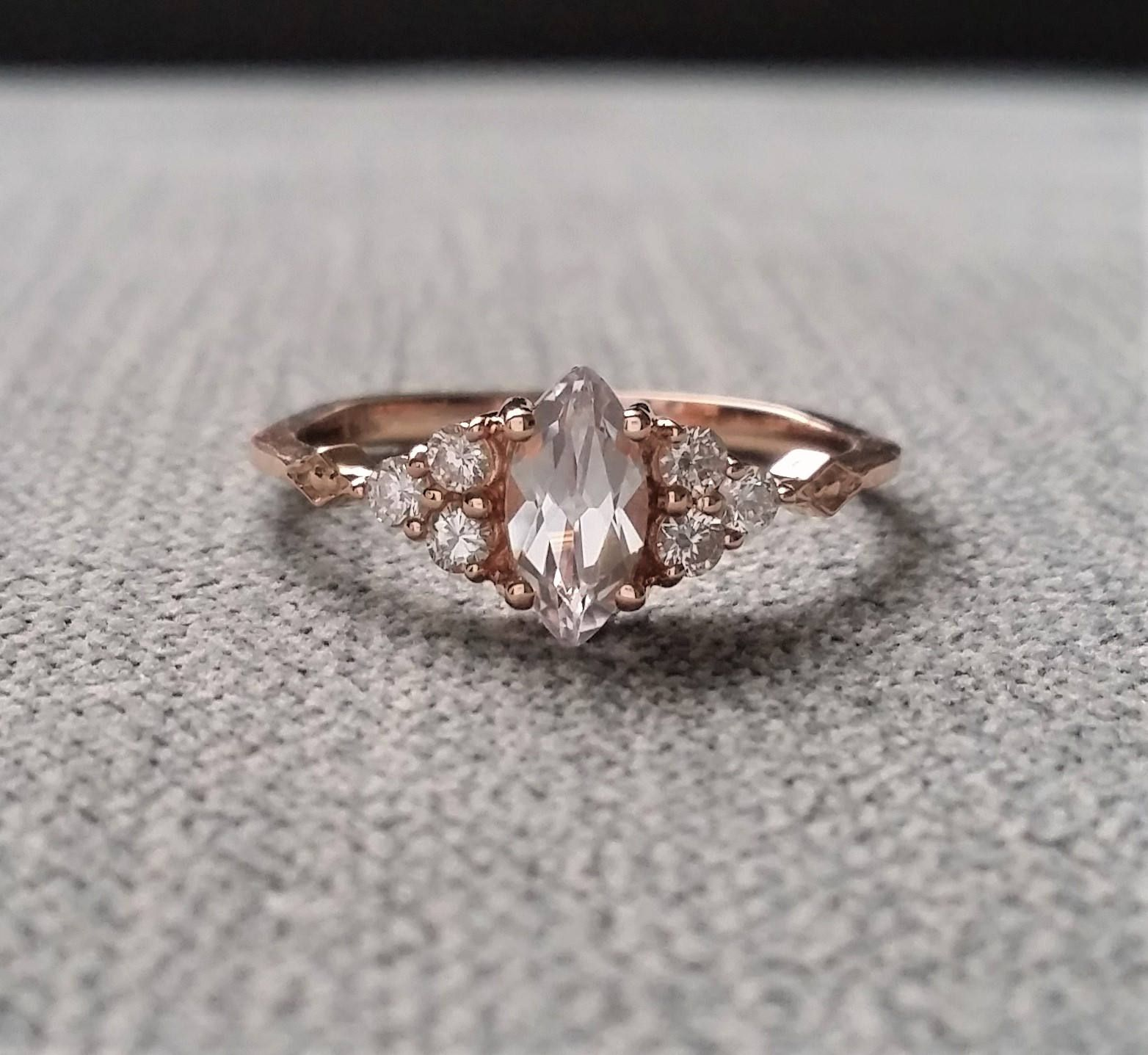 Antique Engagement Ring Victorian White Sapphire Marquise Diamon