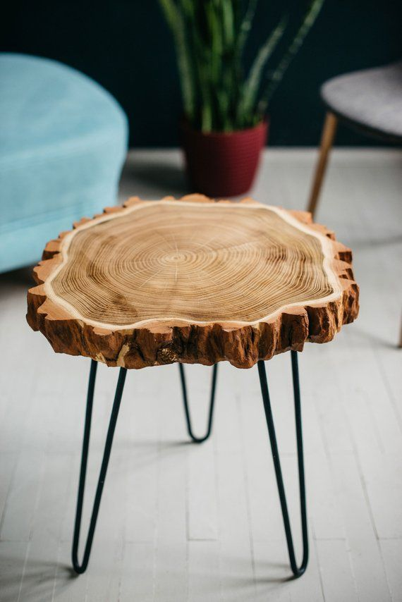 Photo of Side Table, Live Edge Table, End Table, Live Edge Coffee Table, Wood Slab, Hairpin Leg, Wood Slab Table, Wood Coffee Table