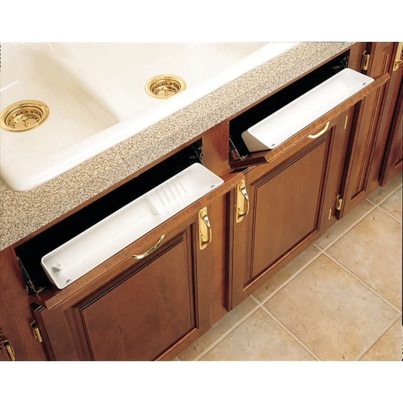 Rev A Shelf 6572 11 52 6572 Series 11 Inch Wide Sink Front Tip Out Two Tray Set White Storage And Organization Cabinet And Kitchen Organizers Tip Out In 2020 Rev A Shelf Shelves Kitchen Cabinet Organization