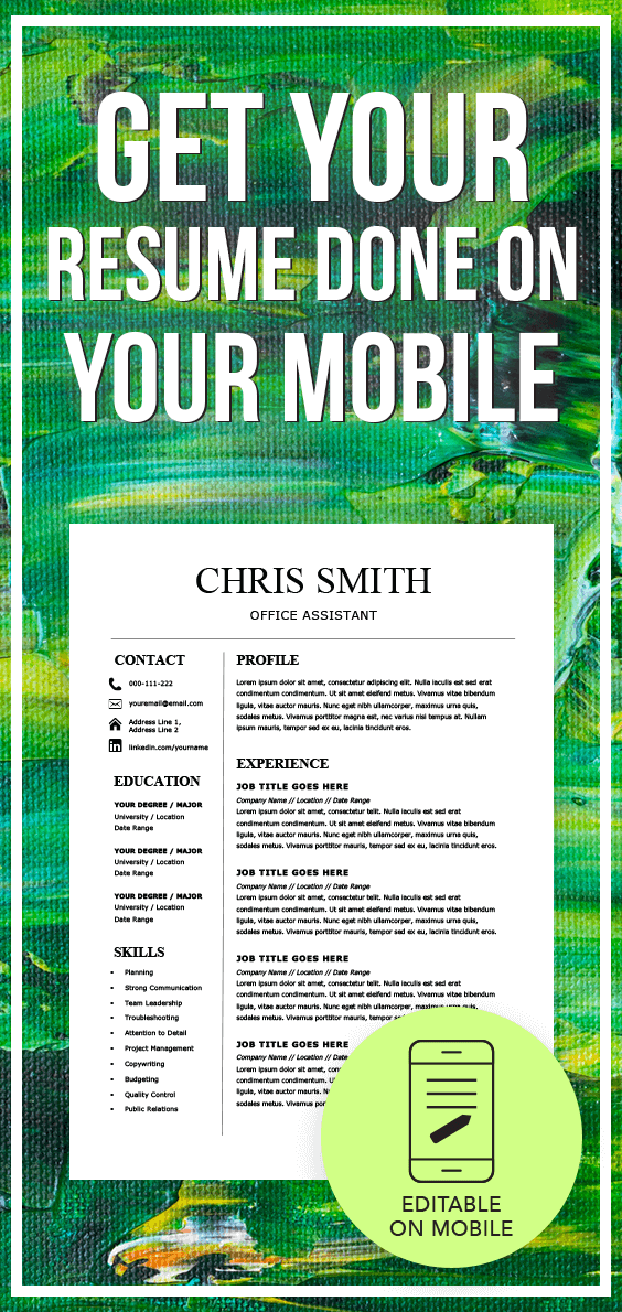 Resume Template Mobile Desktop Microsoft Word Resume Etsy Resume Template Resume Resume Microsoft Word
