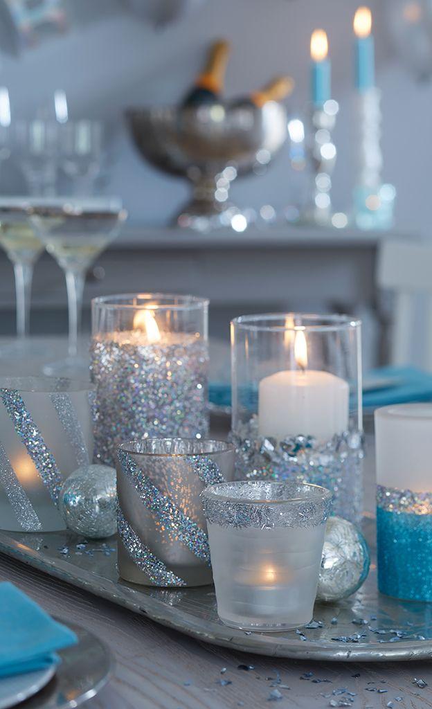Glitzer-Windlicht basteln #weihnachtsdekoglas