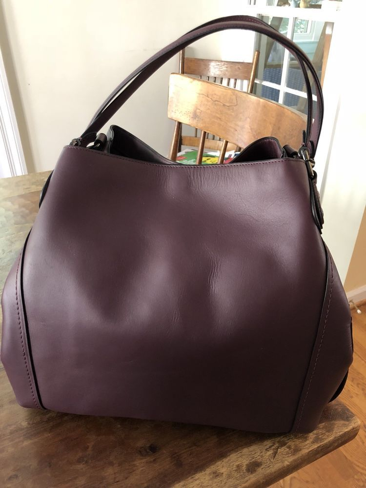 NWT! RARE COACH EDIE SHOULDER BAG 42 - OXBLOOD DARK GUNMETAL J1680 ... d47a880173fef