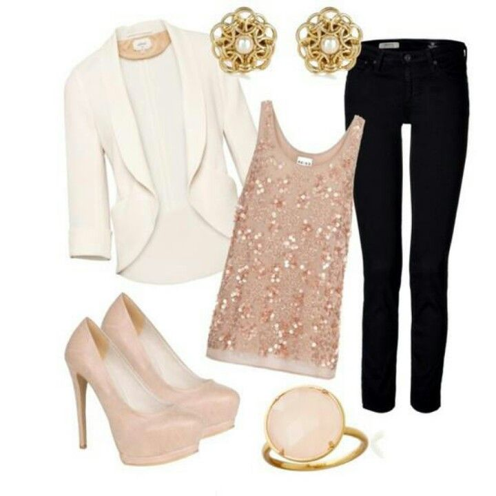 Christmas party outfit? Loving the sparky top/jeans/blazer or cardi combos!