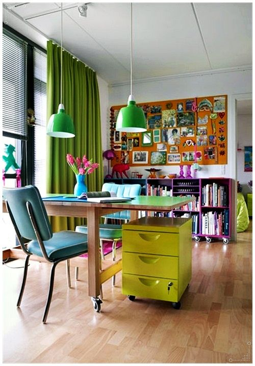 Home Office Ideas/home Office Inspiration/home Office Design/home Office  Decor/colorful Office