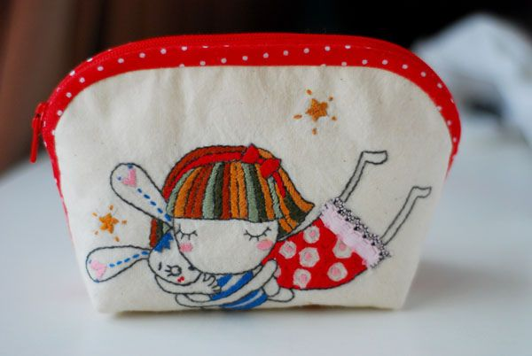 Dreaming Girl Embroidered Pouch