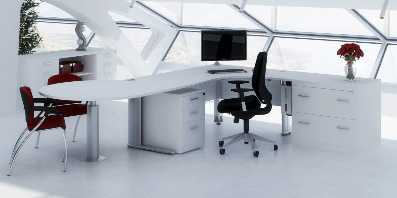 Clean Bright And White Office Furniture Can Be Swanky Just Hope You Never Have A Broken Pen White Office Furniture Modular Office Furniture Office Furniture