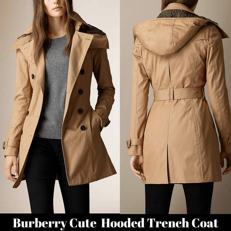 Burberry cute Hooded Trench Coat with warmer | Raincoats for Women ...