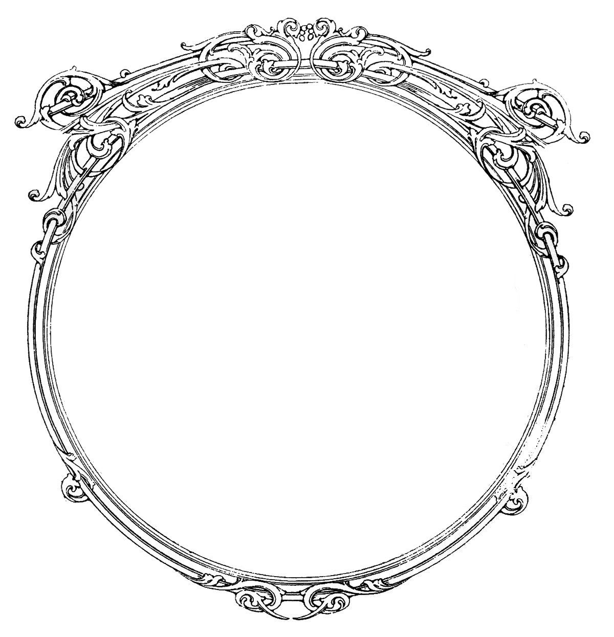 vintage images round ornate frames