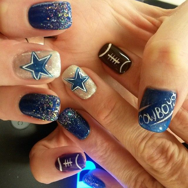 Football nail art designs are varied to adorn your nails in welcoming the  football super bowl - Ready For Super Bowl: 26 Amazing Football Nail Art Designs Cowboys