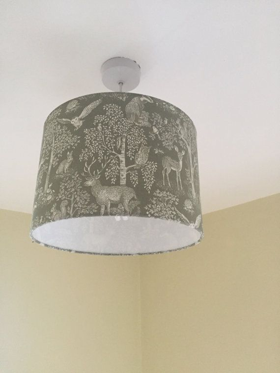 Lampshade lamp shade fabric drum ceiling pendant table handmade handmade green woodland drum lampshade uk by eclipselampshades aloadofball