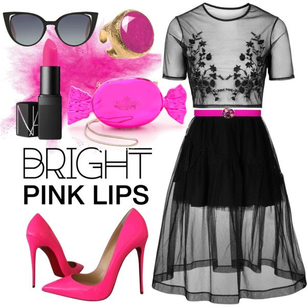 pink candy lipstick by kc-spangler on Polyvore featuring beauty, Oscar de la Renta, Fendi, Kate Spade, Topshop, Simone Rocha, Christian Louboutin, hotpink, pinklipstick and pinkandblack