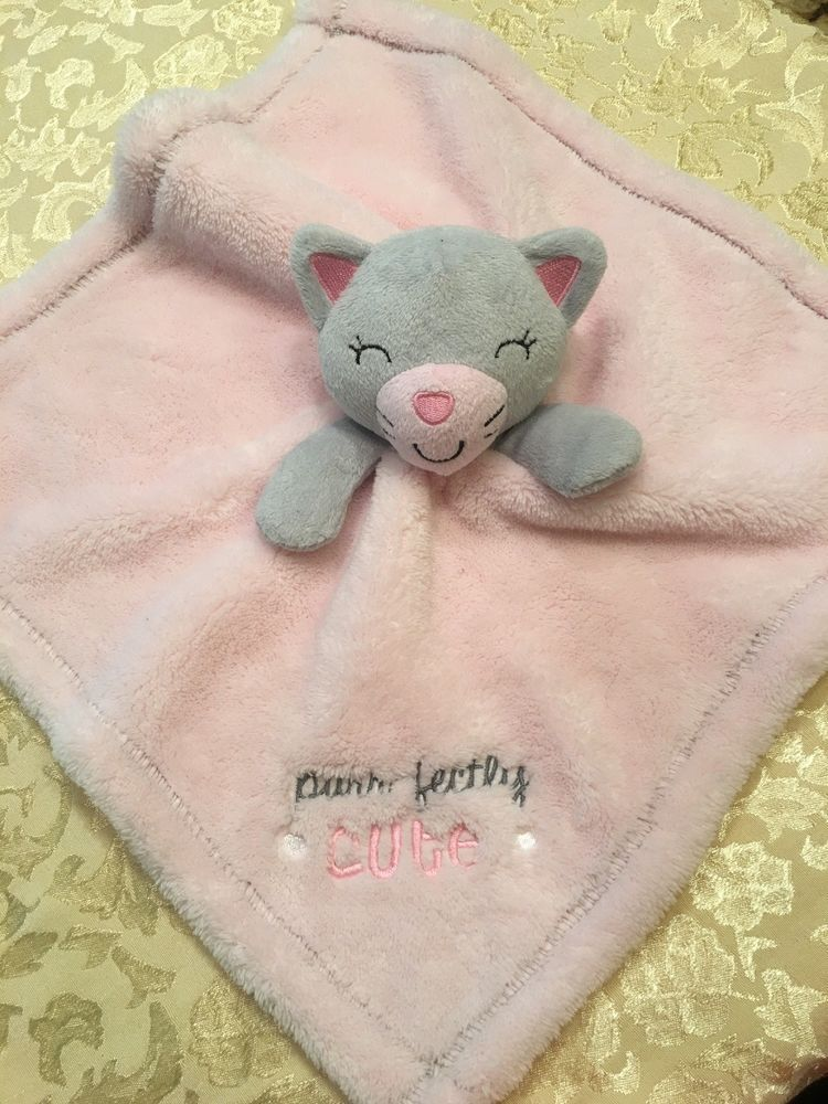 2faf242afc8 Rare Baby Gear Purrfectly Cute Pink Kitty Cat Security Blanket Heart Purr  Fectly