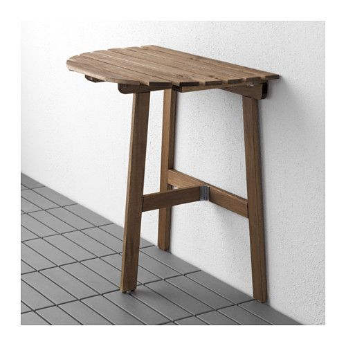 Askholmen Table For Wall Outdoor Folding Grey Brown Stained
