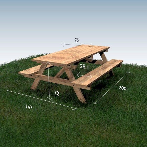 Table à pique-nique - plan du meuble | Picnic table en 2019 ...